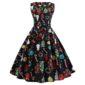 Women's sleeveless retro cocktail dress fun print birthday holiday party dress