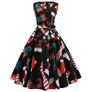 Women's Christmas slimming sleeveless fun print retro big party dress