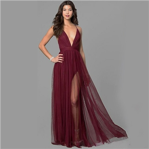Ladies Low Neck Chiffon Strapless Long Skirt Cocktail Party Party Dress