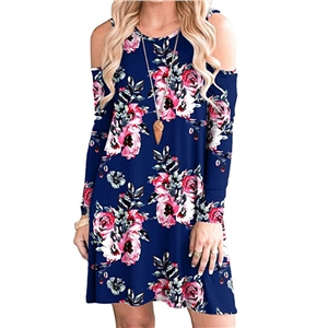 Women's Round Neck Printed Pocket Off Shoulder Waist Long Sleeve Loose Dress