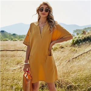 Women's solid color V-neck akimbo pocket a-line dress casual loose short sleeve dress