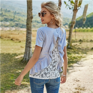 Women's solid color pullover loose round neck lace short sleeve t-shirt