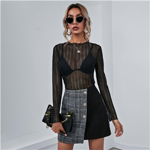 Women's plaid stitching button trimming slim skirt