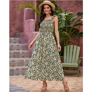 Ladies Fashion Floral High Waist Sleeveless Sling Long Dress