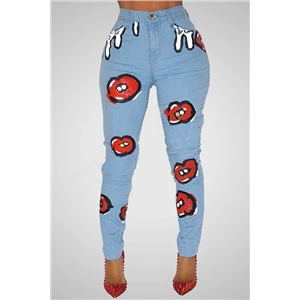 Women's Printed Stretch Jeans High Waist Slim Slim Jeans