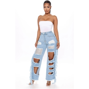 Women's fringed ripped jeans hot drilling jeans light-colored women's straight-leg pants
