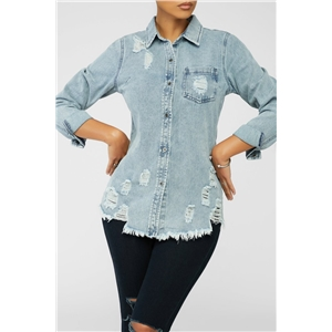 Women's ripped mid-length light blue denim shirt jacket
