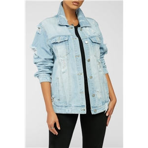 Women's letter print mid-length loose denim jacket