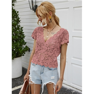 V-neck short-sleeved lace sexy short T-shirt top