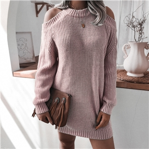 Women's knitted off-shoulder long-sleeved round neck casual loose sweater dress
