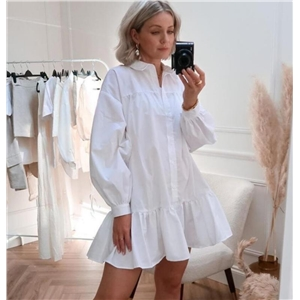 Ladies loose long sleeve lapel cardigan single breasted shirt dress