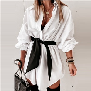 Women's solid color casual lapel lantern sleeve shirt dress