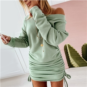 Women's solid color slanted shoulder long sleeve drawstring dress