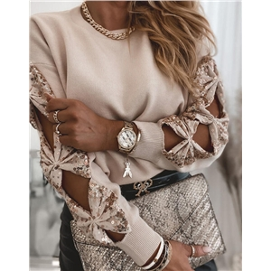 Solid color long-sleeved sequin panel knit sweater top