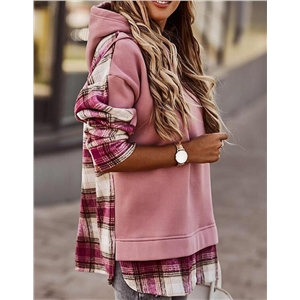 Women's checkered stitching hooded casual jacket sweater