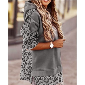 Ladies Long Sleeve Hooded Leopard Print Casual Slim Sweatshirt
