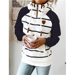 Women's striped color-blocking long-sleeved drawstring zipper stand-up collar sweater