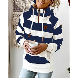 Women's wide stripe color matching long sleeve drawstring zipper stand collar pocket sweater
