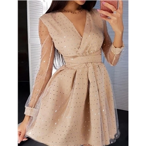 Women's solid color high waist fashion sequined mesh dress