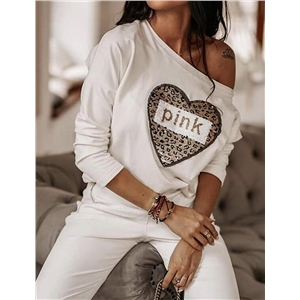 Women's Letter Heart Printed Long Sleeve Casual Slim Top