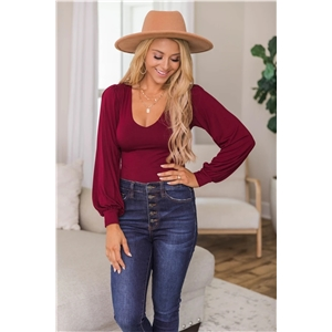 Women's V-neck long-sleeved bottoming shirt solid color one-piece top