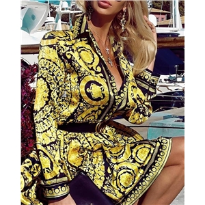 Women's short skirt gold print high waist shirt long sleeve dress