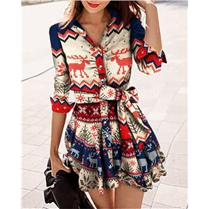 Women's short skirt Christmas style printed high-waist shirt long-sleeved dress