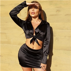 Women Lapel Tie Deep V Long Sleeve Top Short Skirt Set