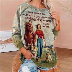 Ladies round neck long sleeve printed sweater loose top