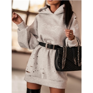 Women's Printed Hole Hooded Long Sleeve Sweatshirt Dress