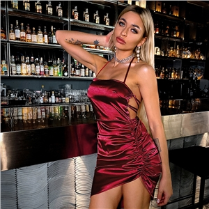 Halter holiday halter neck strap solid color suspender dress