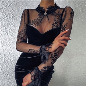Women's black velvet stitching lace mesh long sleeve sexy dress
