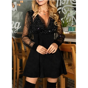 Women's solid color V-neck sequined mesh see-through bishop sleeve dress