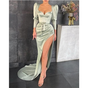 Women Green Square Neck Slit Waist Belt Long Sleeve Dress