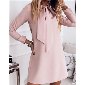 Women's solid color neckline tie long sleeve over the knee elegant tunic dress