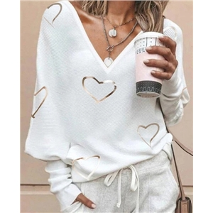 Women's casual V-neck pullover long-sleeved bronzing print top