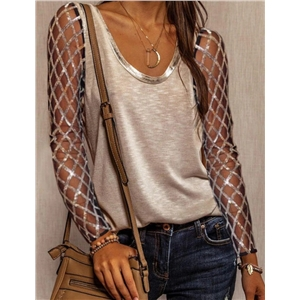 Women's geometric sequins perspective long-sleeved casual V-neck T-shirt