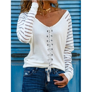 Ladies V-neck casual solid color striped long-sleeved single-breasted drawstring T-shirt