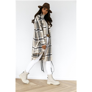 Autumn and winter long-sleeved button lapel casual warm plaid long woolen coat
