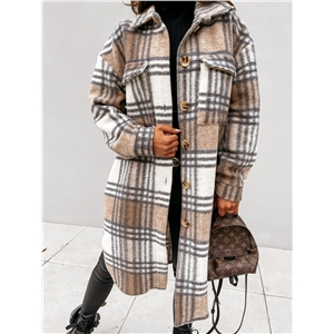Women's lapel casual warm plaid long woolen coat