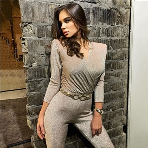 Women's jumpsuit sexy wrapped chest V-neck shoulder pad half sleeve bright silk jumpsuit