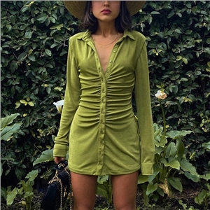 Women's solid color dress sexy long-sleeved lapel single-breasted cardigan skirt