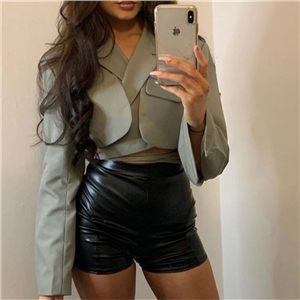 Women's double-layer small suit sexy long-sleeved slim cropped top with tie