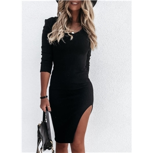 Women's Solid Color Long Sleeve Round Neck Side Slit Micro Elastic Sexy Dress
