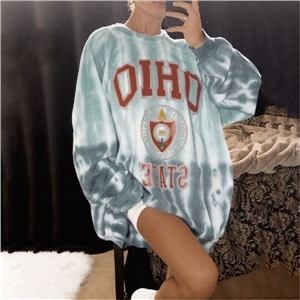 Women's clothing tie-dye casual letters loose long-sleeved sweater