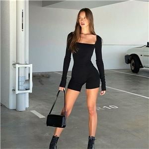 Women's pure cotton sexy halter collar long sleeve threaded solid color jumpsuit