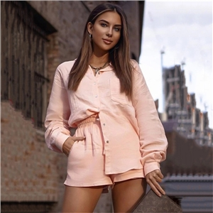 Ladies suit single-breasted cardigan loose top high waist shorts two-piece suit
