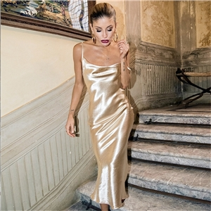 Women's solid color strapless sexy dress with backless nightclub style evening dress
