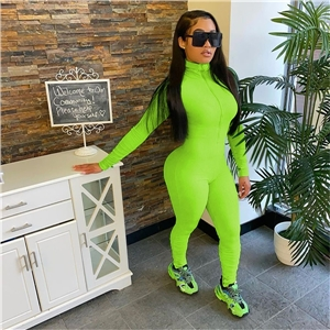 Women's sexy tight-fitting solid color long-sleeved stand-up collar with zipper jumpsuit