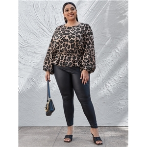 Large size loose leopard print puff sleeve long sleeve round neck ladies casual top